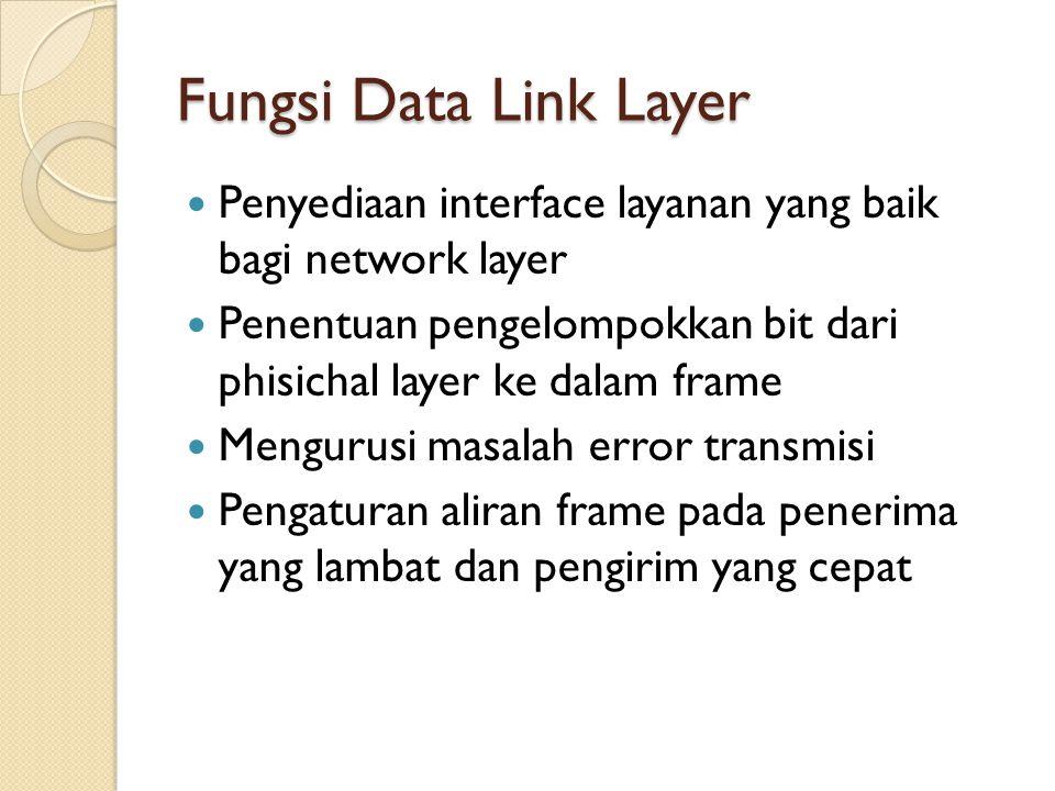 Fungsi Data Link Layer Penyediaan interface layanan yang baik bagi network layer Penentuan pengelompokkan bit dari phisichal layer ke dalam frame Mengurusi masalah error transmisi Pengaturan aliran frame pada penerima yang lambat dan pengirim yang cepat
