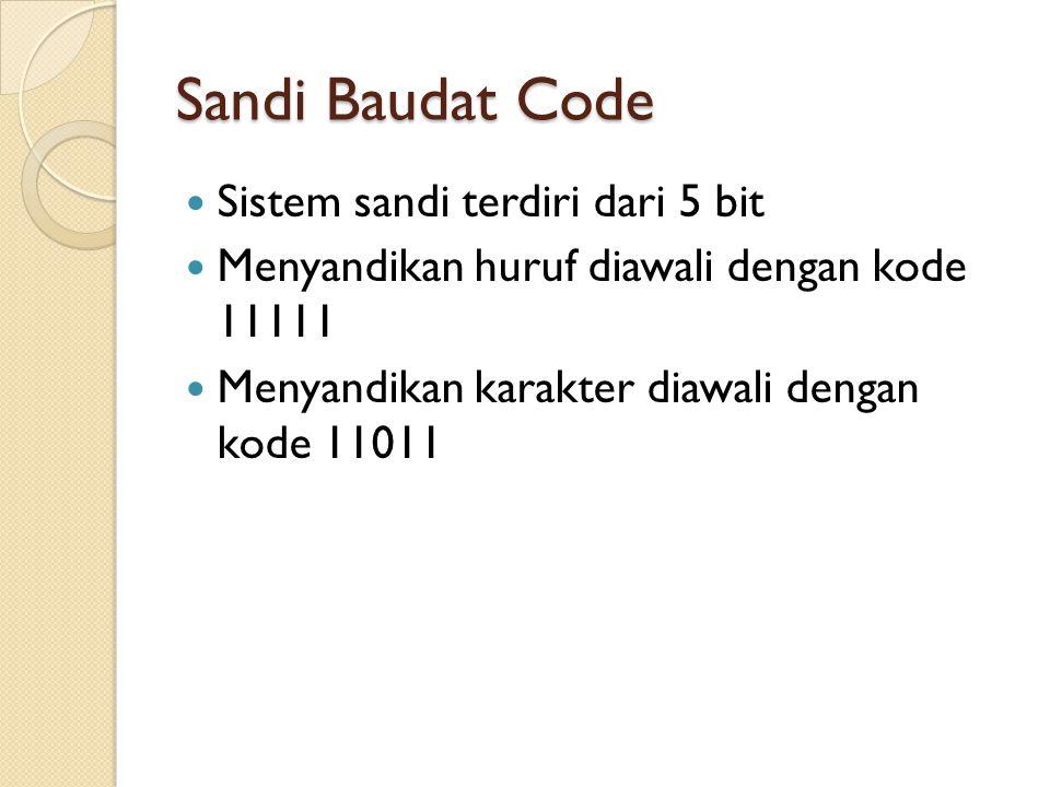 Sandi Baudat Code Sistem sandi terdiri dari 5 bit Menyandikan huruf diawali dengan kode 11111 Menyandikan karakter diawali dengan kode 11011