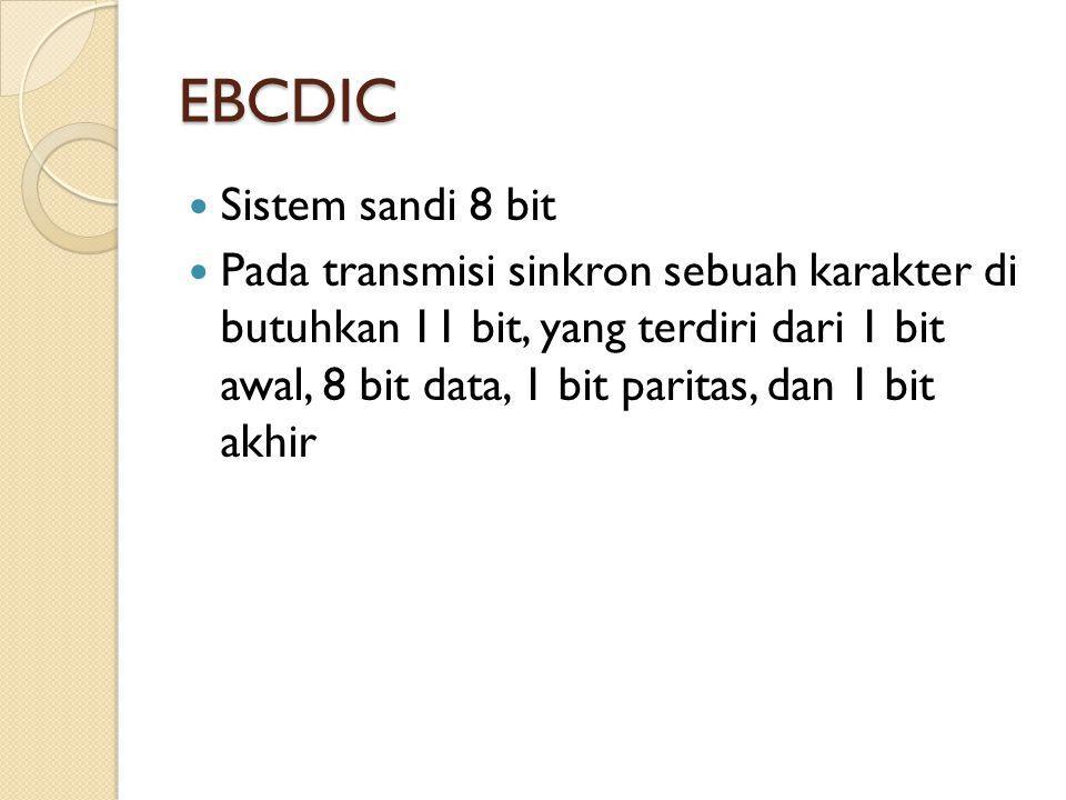 EBCDIC Sistem sandi 8 bit Pada transmisi sinkron sebuah karakter di butuhkan 11 bit, yang terdiri dari 1 bit awal, 8 bit data, 1 bit paritas, dan 1 bit akhir