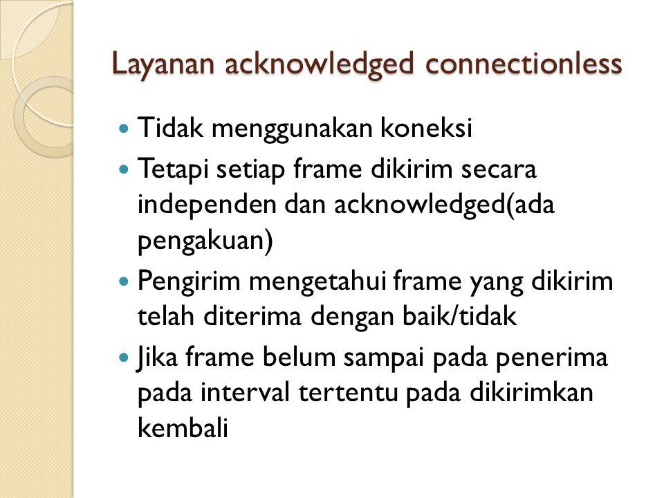 Layanan acknowledged connectionless Tidak menggunakan koneksi Tetapi setiap frame dikirim secara independen dan acknowledged(ada pengakuan) Pengirim mengetahui frame yang dikirim telah diterima dengan baik/tidak Jika frame belum sampai pada penerima pada interval tertentu pada dikirimkan kembali