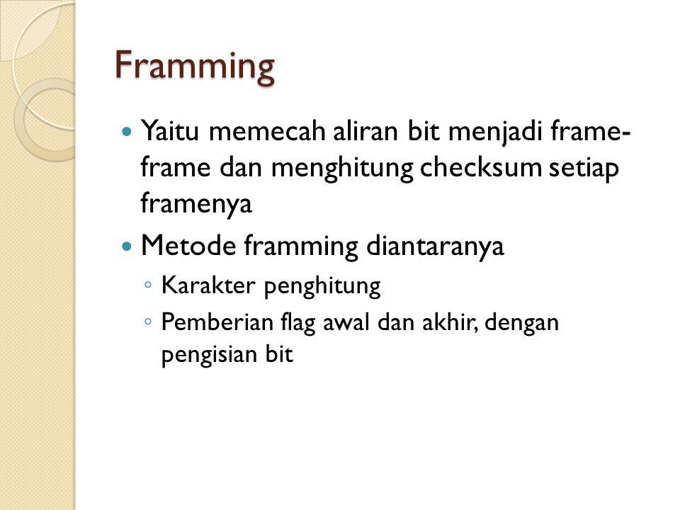 Framming Yaitu memecah aliran bit menjadi frame- frame dan menghitung checksum setiap framenya Metode framming diantaranya ◦ Karakter penghitung ◦ Pemberian flag awal dan akhir, dengan pengisian bit