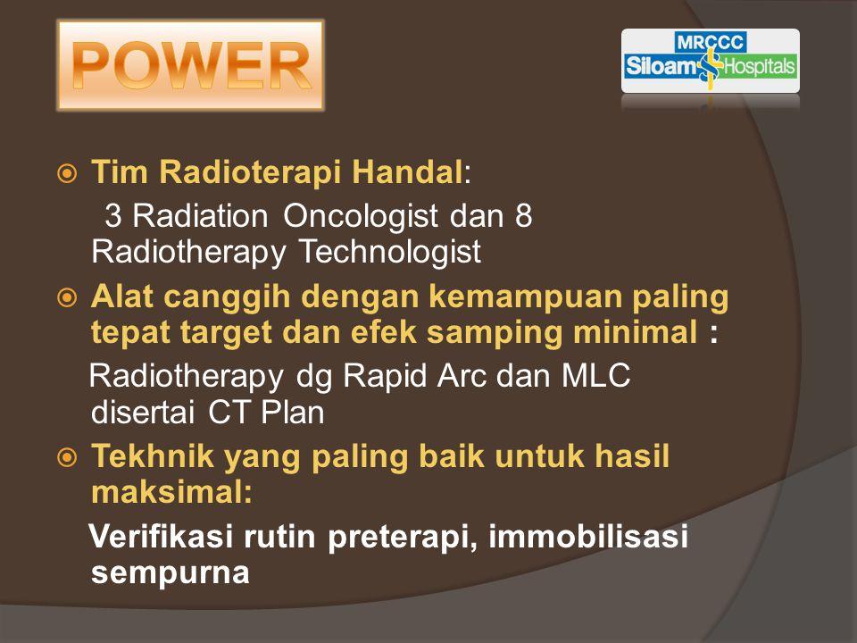  Tim Radioterapi Handal: 3 Radiation Oncologist dan 8 Radiotherapy Technologist  Alat canggih dengan kemampuan paling tepat target dan efek samping