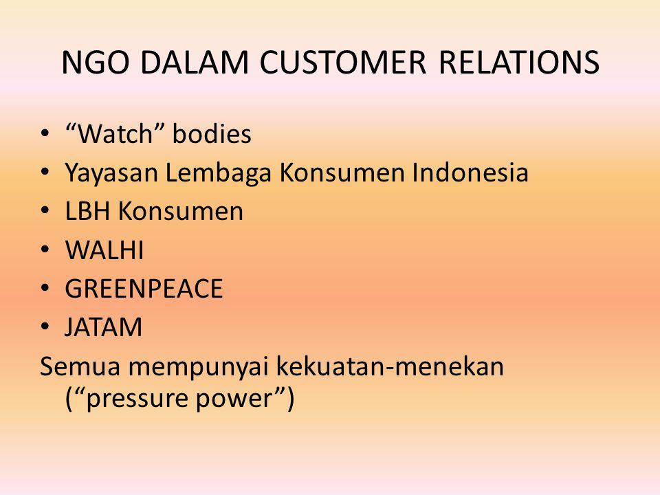 NGO DALAM CUSTOMER RELATIONS Watch bodies Yayasan Lembaga Konsumen Indonesia LBH Konsumen WALHI GREENPEACE JATAM Semua mempunyai kekuatan-menekan ( pressure power )