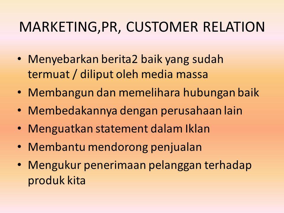 MARKETING,PR, CUSTOMER RELATION Menyebarkan berita2 baik yang sudah termuat / diliput oleh media massa Membangun dan memelihara hubungan baik Membedakannya dengan perusahaan lain Menguatkan statement dalam Iklan Membantu mendorong penjualan Mengukur penerimaan pelanggan terhadap produk kita