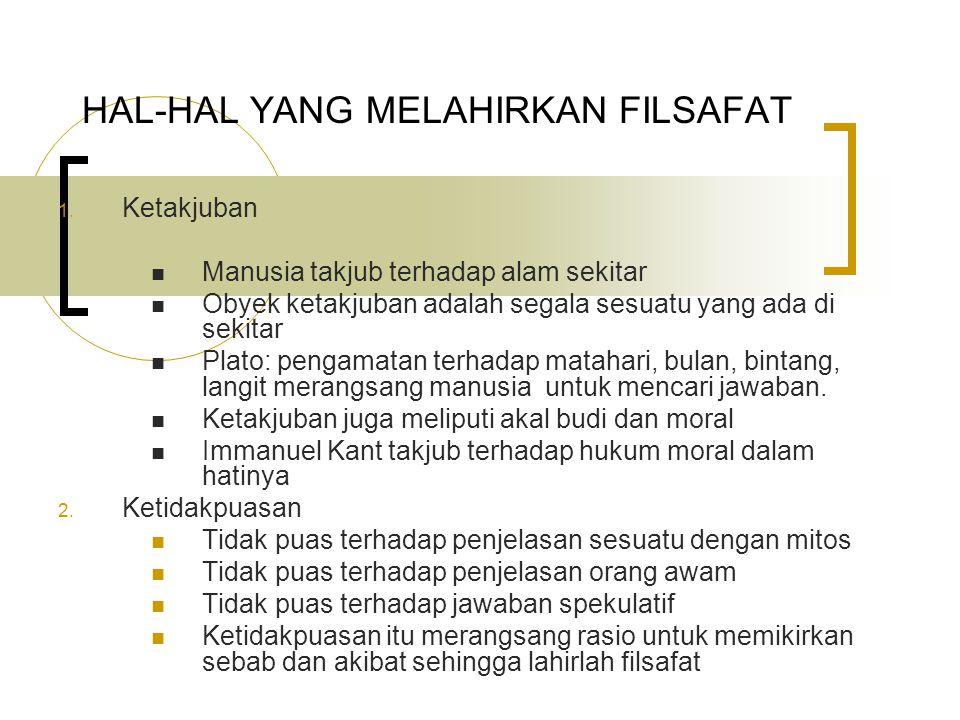 HAL-HAL YANG MELAHIRKAN FILSAFAT 1.