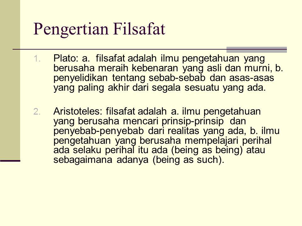 Pengertian Filsafat 1.Plato: a.