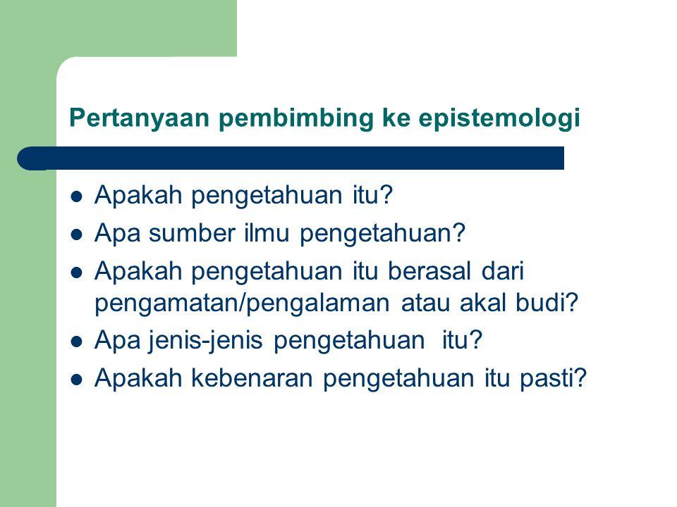 Pertanyaan pembimbing ke epistemologi Apakah pengetahuan itu.