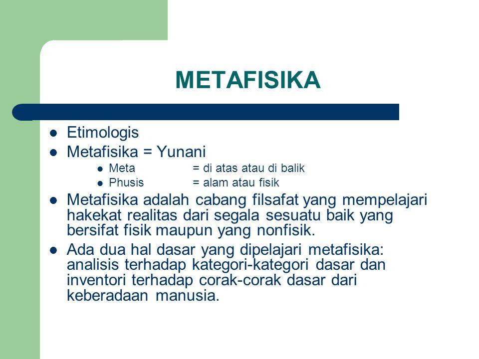 METAFISIKA Etimologis Metafisika = Yunani Meta= di atas atau di balik Phusis= alam atau fisik Metafisika adalah cabang filsafat yang mempelajari hakekat realitas dari segala sesuatu baik yang bersifat fisik maupun yang nonfisik.
