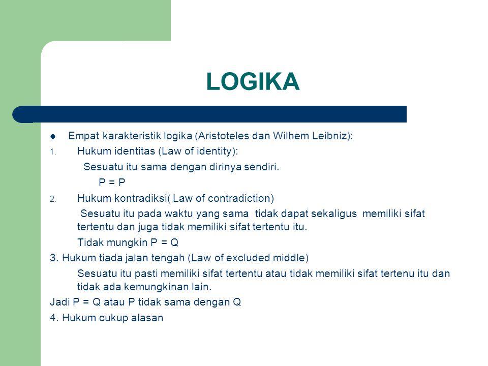 LOGIKA Empat karakteristik logika (Aristoteles dan Wilhem Leibniz): 1.