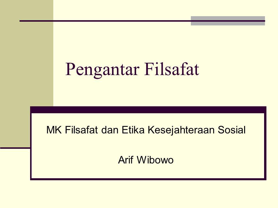 Pengantar Filsafat MK Filsafat dan Etika Kesejahteraan Sosial Arif Wibowo