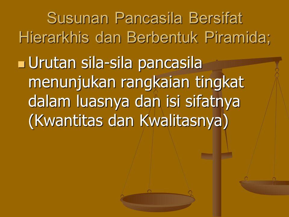 Susunan Pancasila Bersifat Hierarkhis dan Berbentuk Piramida; Urutan sila-sila pancasila menunjukan rangkaian tingkat dalam luasnya dan isi sifatnya (