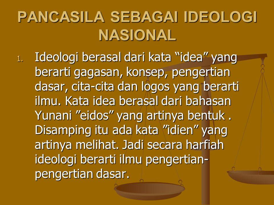 """PANCASILA SEBAGAI IDEOLOGI NASIONAL 1. Ideologi berasal dari kata """"idea"""" yang berarti gagasan, konsep, pengertian dasar, cita-cita dan logos yang bera"""
