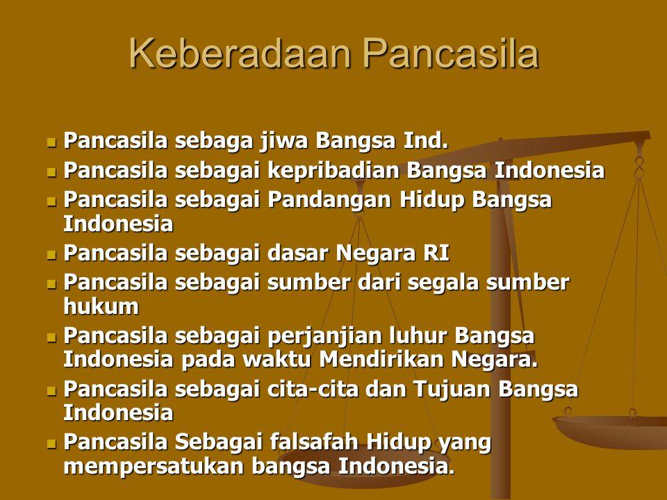 Keberadaan Pancasila Pancasila sebaga jiwa Bangsa Ind. Pancasila sebaga jiwa Bangsa Ind. Pancasila sebagai kepribadian Bangsa Indonesia Pancasila seba