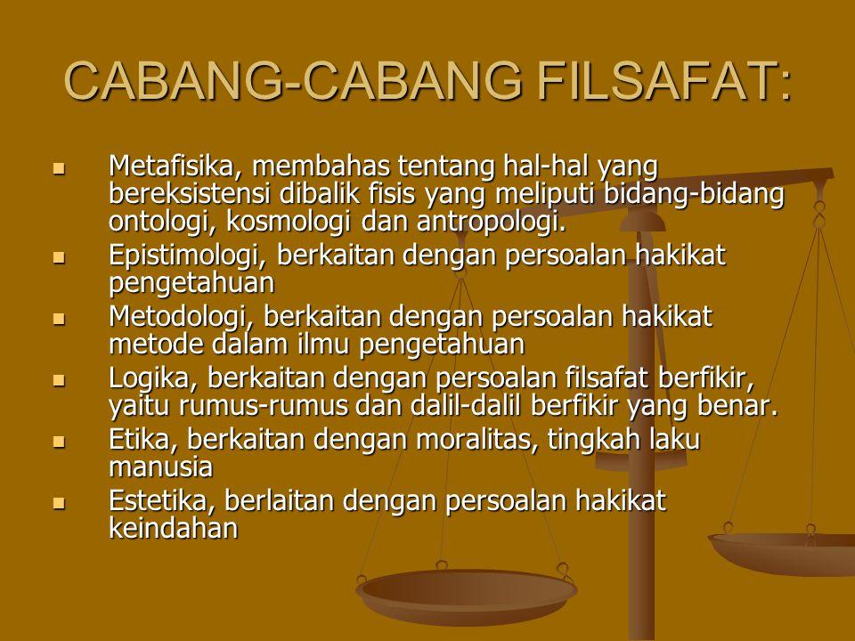 CABANG-CABANG FILSAFAT: Metafisika, membahas tentang hal-hal yang bereksistensi dibalik fisis yang meliputi bidang-bidang ontologi, kosmologi dan antr