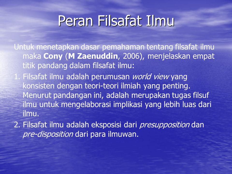 Untuk menetapkan dasar pemahaman tentang filsafat ilmu maka Cony (M Zaenuddin, 2006), menjelaskan empat titik pandang dalam filsafat ilmu: 1.