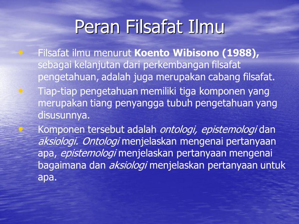 Filsafat ilmu menurut Koento Wibisono (1988), sebagai kelanjutan dari perkembangan filsafat pengetahuan, adalah juga merupakan cabang filsafat.