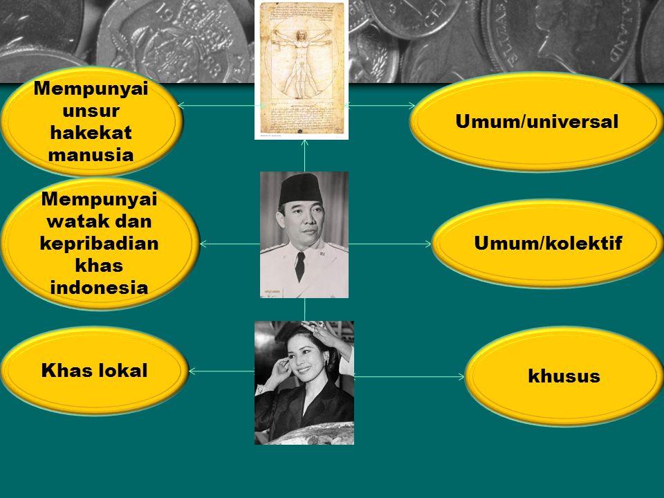Umum/universal Mempunyai unsur hakekat manusia Umum/kolektif Mempunyai watak dan kepribadian khas indonesia khusus Khas lokal