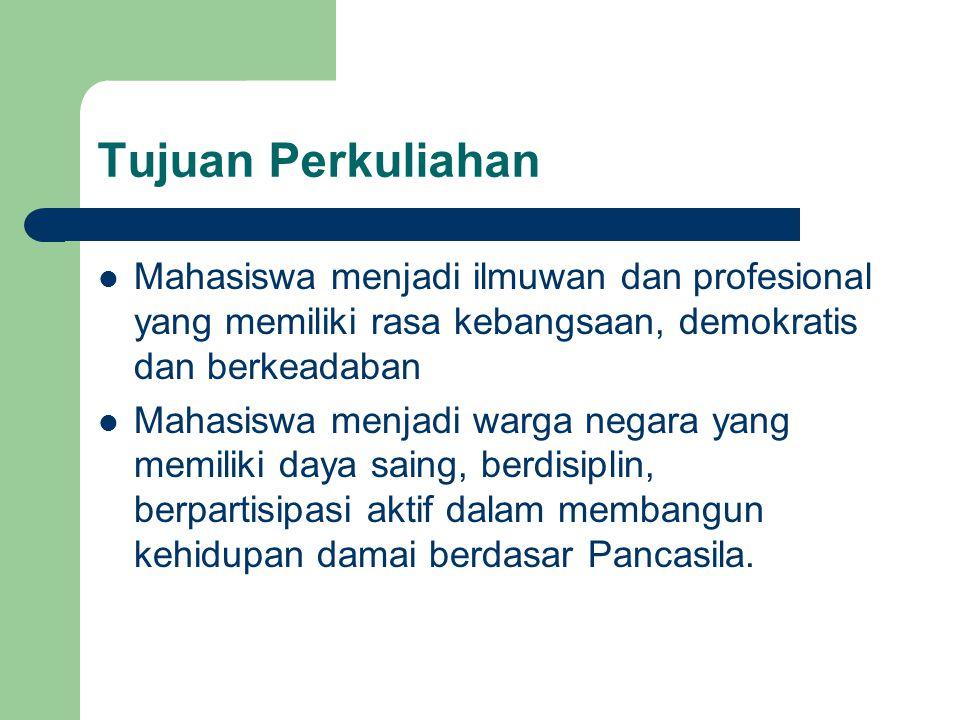 Substansi Kajian Filsafat Pancasila Identitas Nasional Negara dan Konstitusi Demokrasi Indonesia Hak Azasi Manusia Hak dan Kewajiban Warganegara Geopolitik Indonesia Geostrategi Indonesia