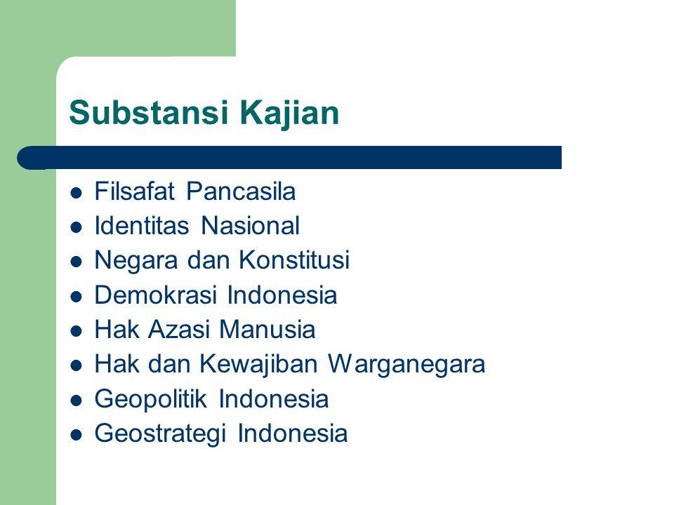 Substansi Kajian Filsafat Pancasila Identitas Nasional Negara dan Konstitusi Demokrasi Indonesia Hak Azasi Manusia Hak dan Kewajiban Warganegara Geopo