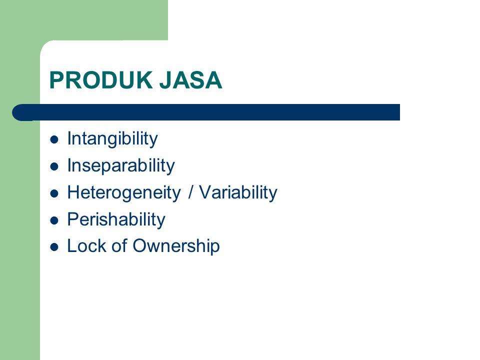 PRODUK JASA Intangibility Inseparability Heterogeneity / Variability Perishability Lock of Ownership