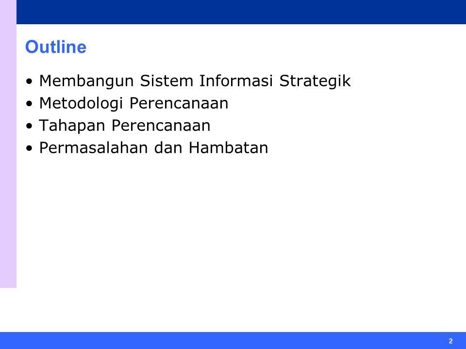2 Outline Membangun Sistem Informasi Strategik Metodologi Perencanaan Tahapan Perencanaan Permasalahan dan Hambatan