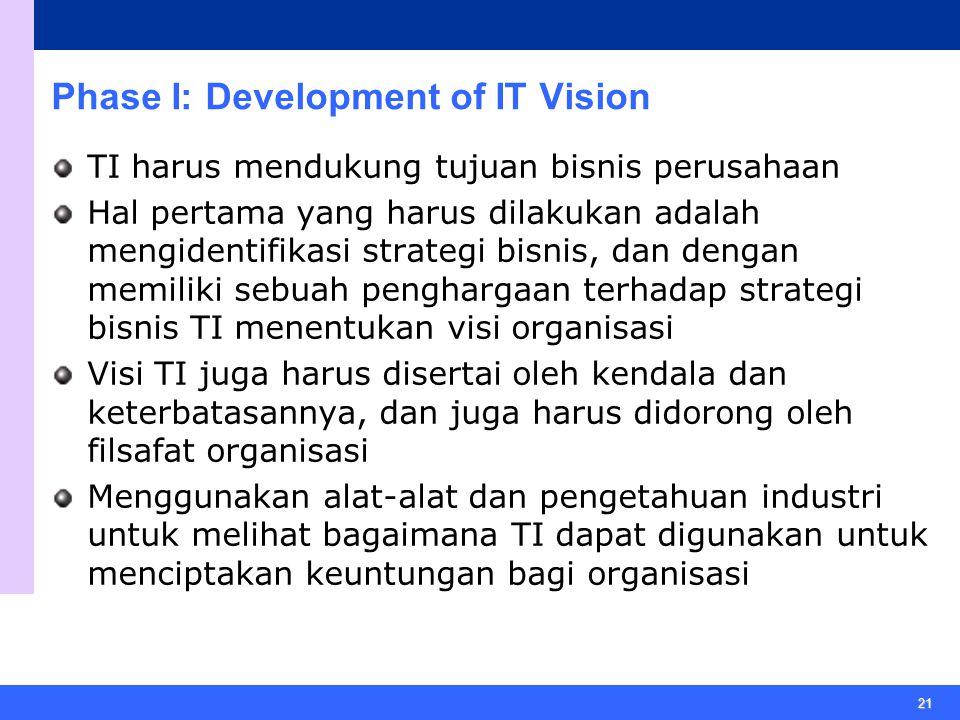 21 Phase I: Development of IT Vision TI harus mendukung tujuan bisnis perusahaan Hal pertama yang harus dilakukan adalah mengidentifikasi strategi bisnis, dan dengan memiliki sebuah penghargaan terhadap strategi bisnis TI menentukan visi organisasi Visi TI juga harus disertai oleh kendala dan keterbatasannya, dan juga harus didorong oleh filsafat organisasi Menggunakan alat-alat dan pengetahuan industri untuk melihat bagaimana TI dapat digunakan untuk menciptakan keuntungan bagi organisasi
