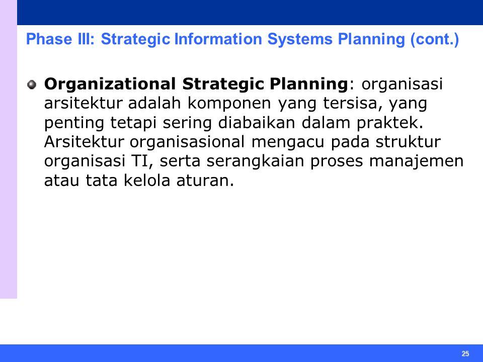 25 Phase III: Strategic Information Systems Planning (cont.) Organizational Strategic Planning: organisasi arsitektur adalah komponen yang tersisa, yang penting tetapi sering diabaikan dalam praktek.
