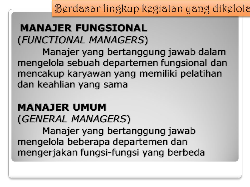 MANAJER FUNGSIONAL MANAJER FUNGSIONAL (FUNCTIONAL MANAGERS)(FUNCTIONAL MANAGERS) Manajer yang bertanggung jawab dalam mengelola sebuah departemen fungsional dan mencakup karyawan yang memiliki pelatihan dan keahlian yang sama MANAJER UMUMMANAJER UMUM (GENERAL MANAGERS)(GENERAL MANAGERS) Manajer yang bertanggung jawab mengelola beberapa departemen dan mengerjakan fungsi-fungsi yang berbeda Berdasar lingkup kegiatan yang dikelola