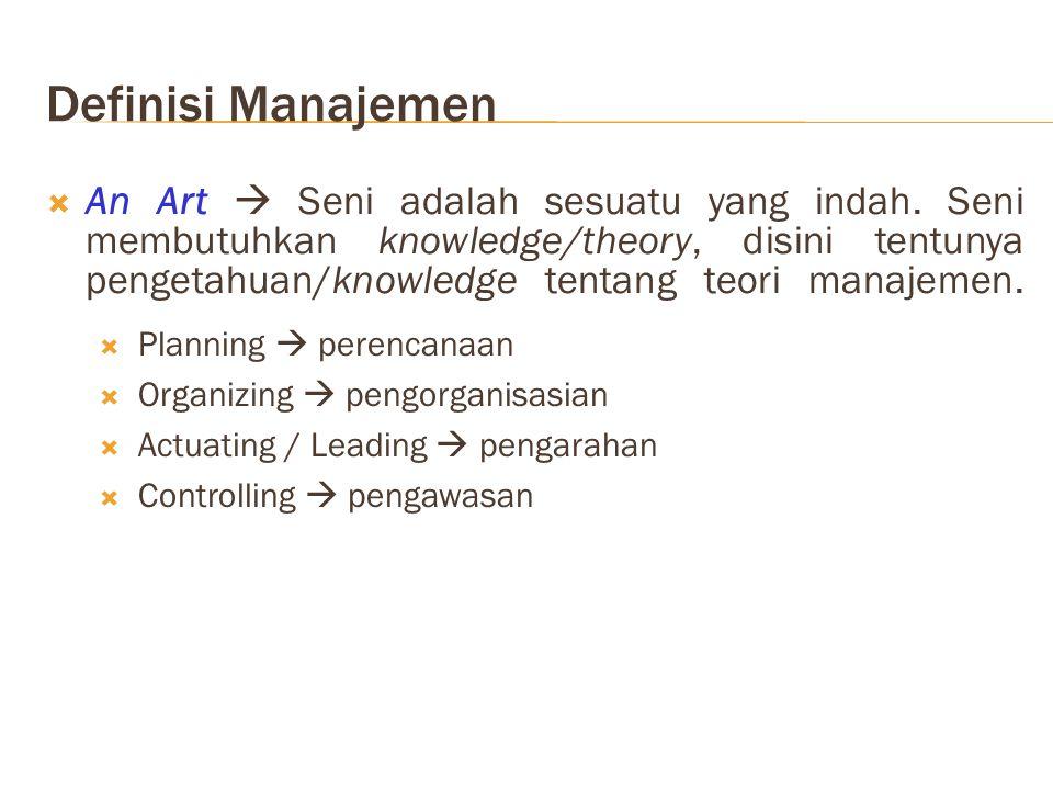 Definisi Manajemen  An Art  Seni adalah sesuatu yang indah.