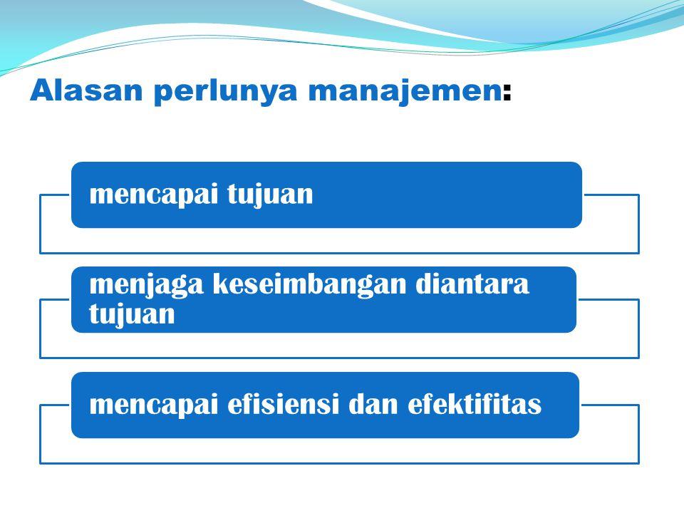 Alasan perlunya manajemen: mencapai tujuan menjaga keseimbangan diantara tujuan mencapai efisiensi dan efektifitas