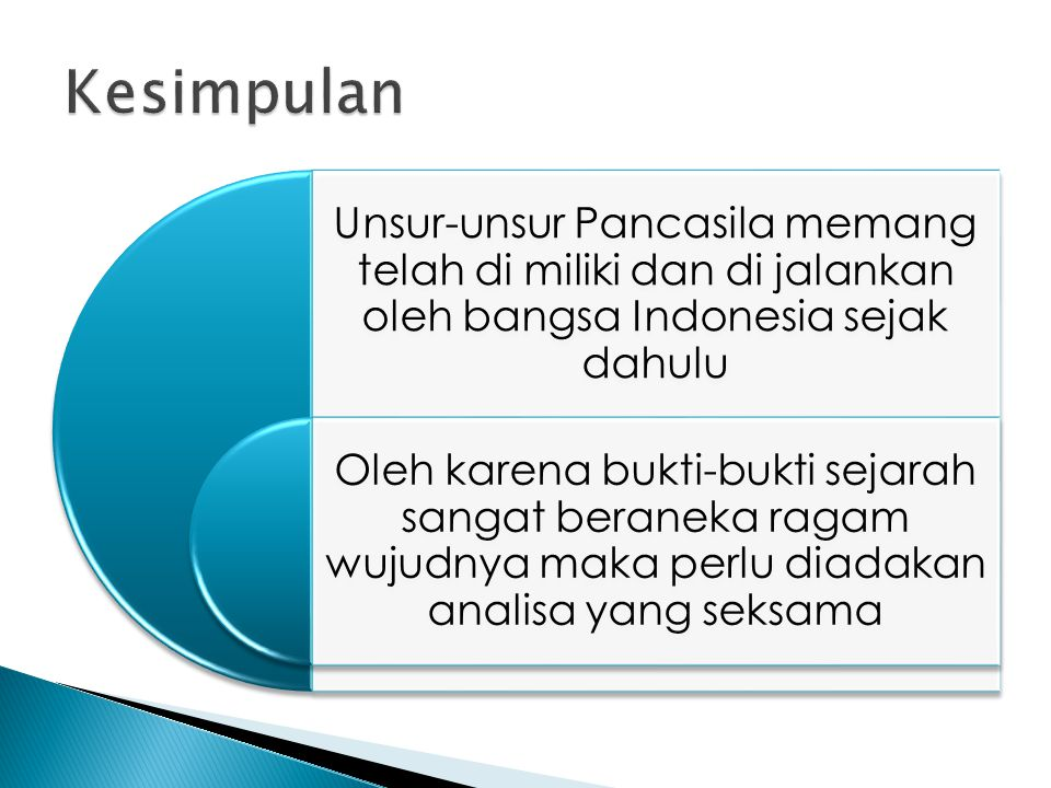 Unsur-unsur Pancasila memang telah di miliki dan di jalankan oleh bangsa Indonesia sejak dahulu Oleh karena bukti-bukti sejarah sangat beraneka ragam wujudnya maka perlu diadakan analisa yang seksama