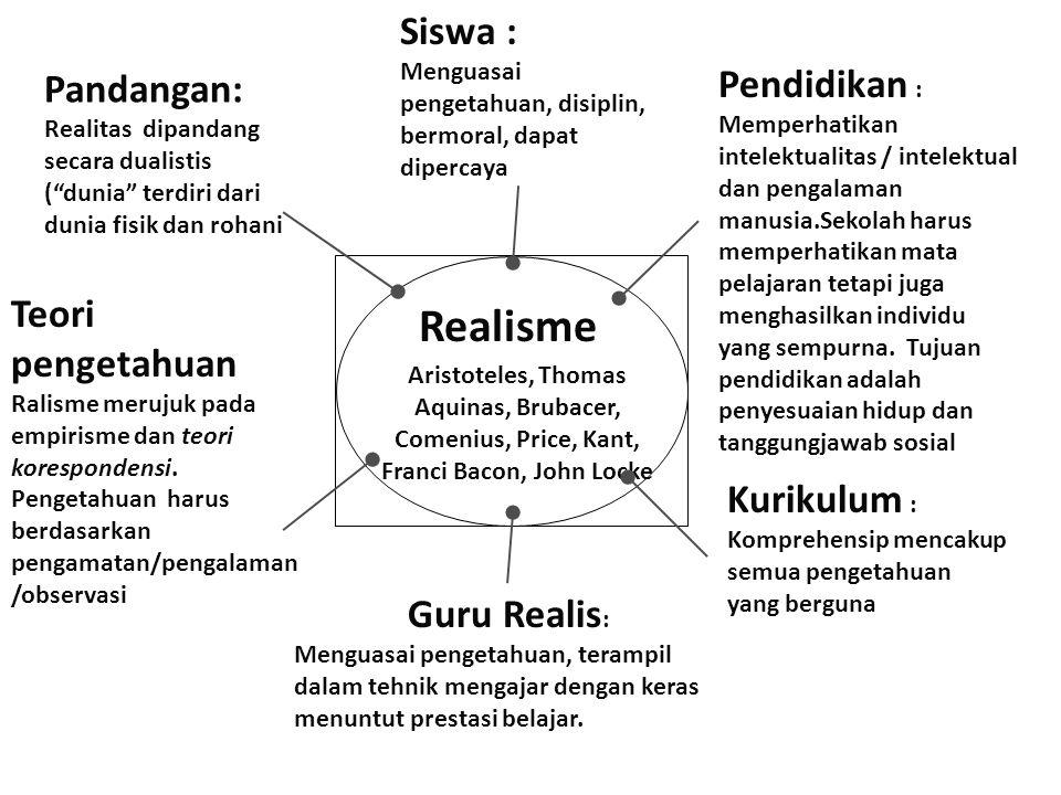 "Realisme Aristoteles, Thomas Aquinas, Brubacer, Comenius, Price, Kant, Franci Bacon, John Locke Pandangan: Realitas dipandang secara dualistis (""dunia"
