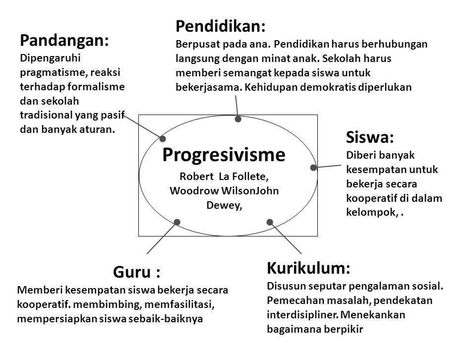 Progresivisme Robert La Follete, Woodrow WilsonJohn Dewey, Pandangan: Dipengaruhi pragmatisme, reaksi terhadap formalisme dan sekolah tradisional yang