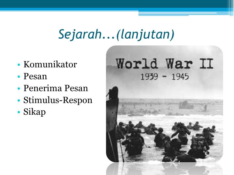 Sejarah...(lanjutan) Komunikator Pesan Penerima Pesan Stimulus-Respon Sikap