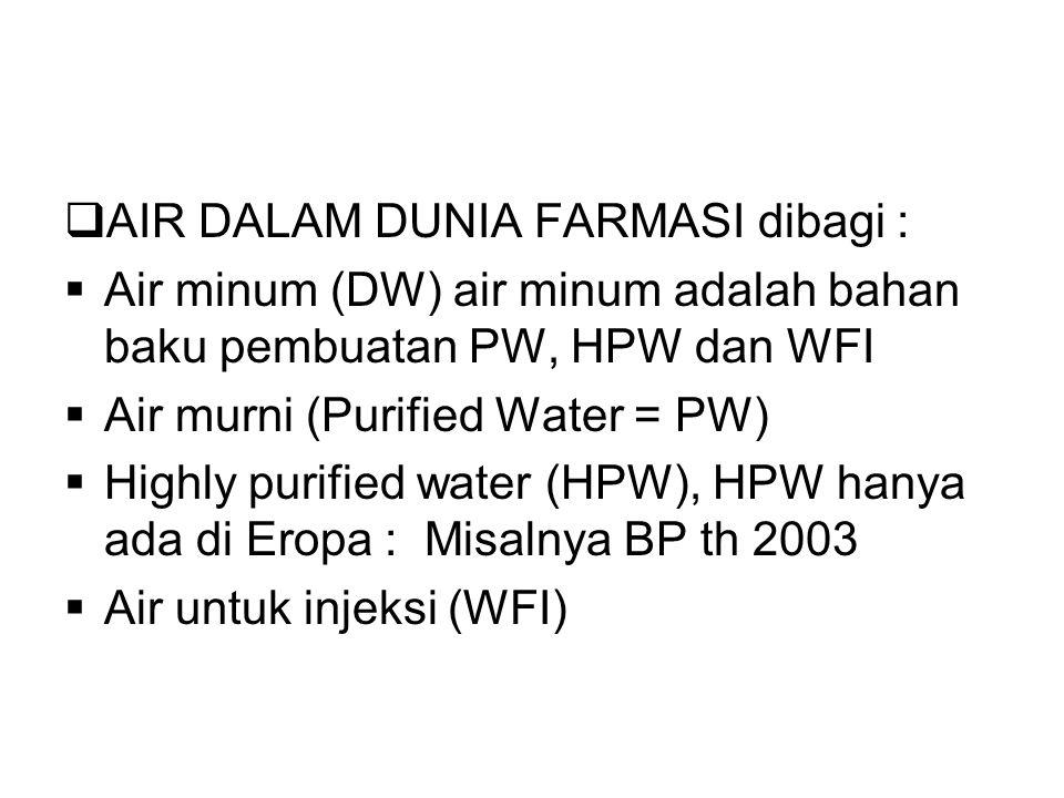 AIR DALAM DUNIA FARMASI dibagi :  Air minum (DW) air minum adalah bahan baku pembuatan PW, HPW dan WFI  Air murni (Purified Water = PW)  Highly purified water (HPW), HPW hanya ada di Eropa : Misalnya BP th 2003  Air untuk injeksi (WFI)
