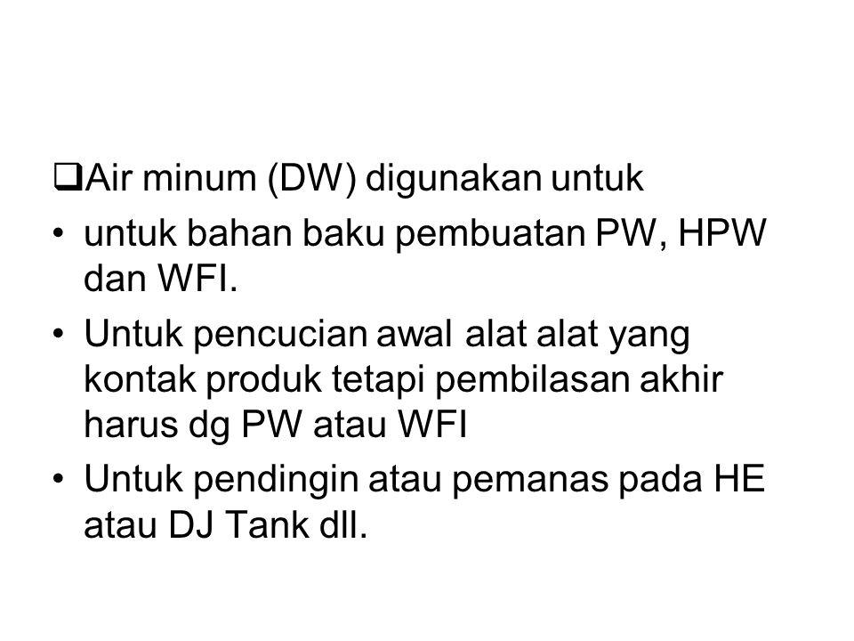  AIR DALAM DUNIA FARMASI dibagi :  Air minum (DW) air minum adalah bahan baku pembuatan PW, HPW dan WFI  Air murni (Purified Water = PW)  Highly p