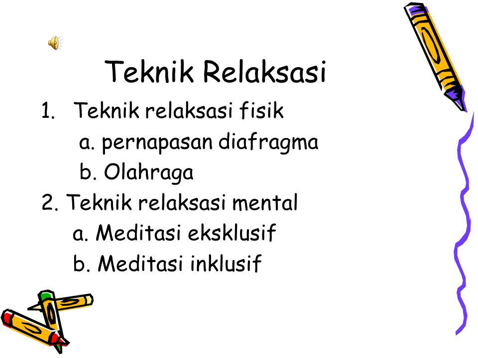 Teknik Relaksasi 1.Teknik relaksasi fisik a. pernapasan diafragma b.