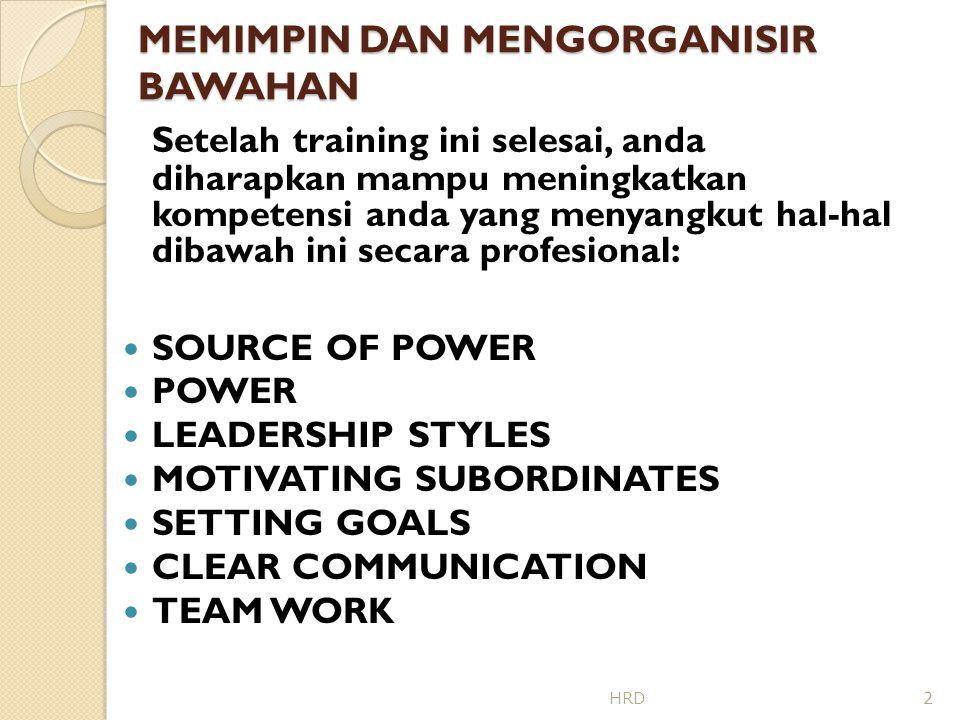 MEMIMPIN DAN MENGORGANISIR BAWAHAN GAYA KEPEMIMPINAN (LEADERSHIP STYLES)  JANGAN GUNAKAN DEMOCRATIC LEADERSHIP (DELEGATING) JIKA : 1.