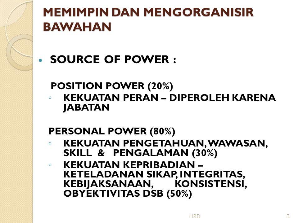 MEMIMPIN DAN MENGORGANISIR BAWAHAN KEKUATAN KEPEMIMPINAN (POWER):  TIPS UNTUK MEMPEROLEH POWER : 1.