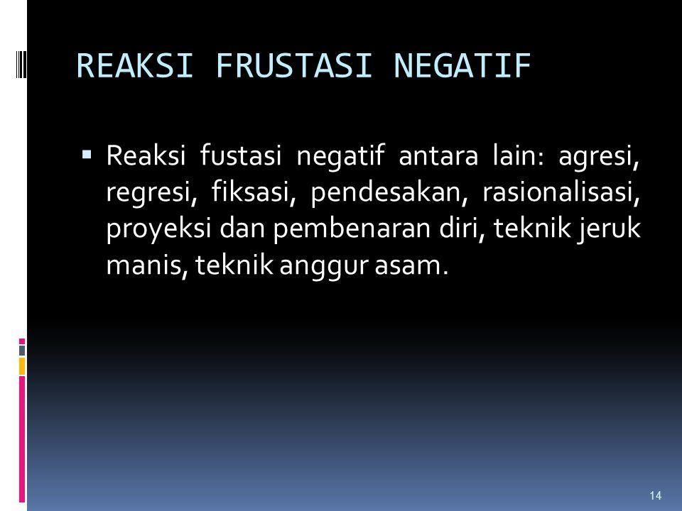 REAKSI FRUSTASI NEGATIF  Reaksi fustasi negatif antara lain: agresi, regresi, fiksasi, pendesakan, rasionalisasi, proyeksi dan pembenaran diri, tekni