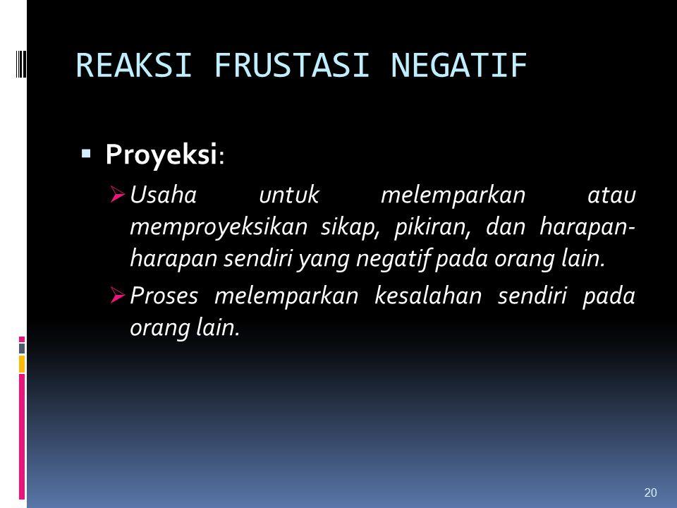REAKSI FRUSTASI NEGATIF  Proyeksi:  Usaha untuk melemparkan atau memproyeksikan sikap, pikiran, dan harapan- harapan sendiri yang negatif pada orang