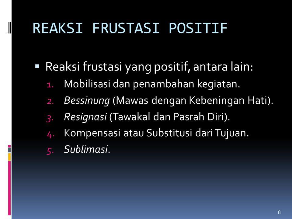 REAKSI FRUSTASI POSITIF  Reaksi frustasi yang positif, antara lain: 1. Mobilisasi dan penambahan kegiatan. 2. Bessinung (Mawas dengan Kebeningan Hati