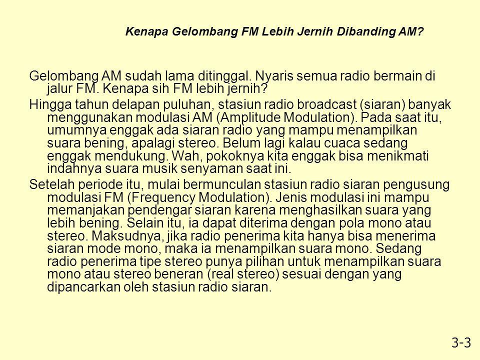 3-3 Gelombang AM sudah lama ditinggal. Nyaris semua radio bermain di jalur FM. Kenapa sih FM lebih jernih? Hingga tahun delapan puluhan, stasiun radio
