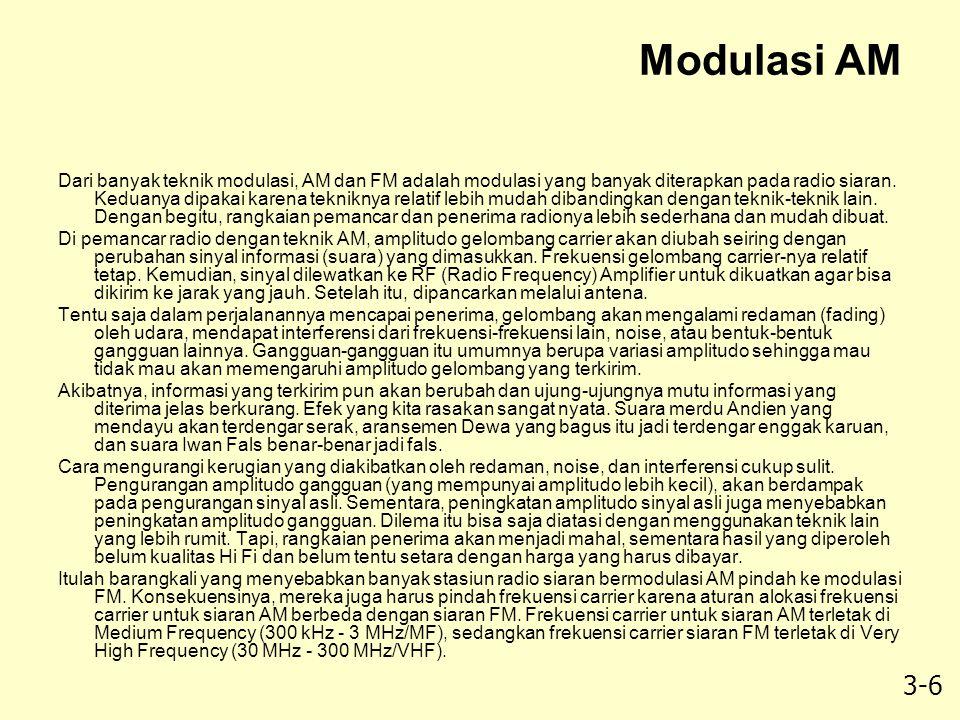 3-6 Modulasi AM Dari banyak teknik modulasi, AM dan FM adalah modulasi yang banyak diterapkan pada radio siaran. Keduanya dipakai karena tekniknya rel