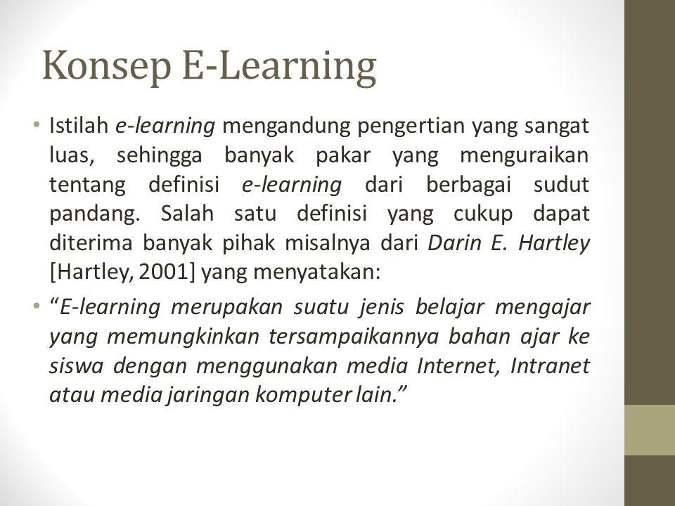 Konsep E-Learning Istilah e-learning mengandung pengertian yang sangat luas, sehingga banyak pakar yang menguraikan tentang definisi e-learning dari b