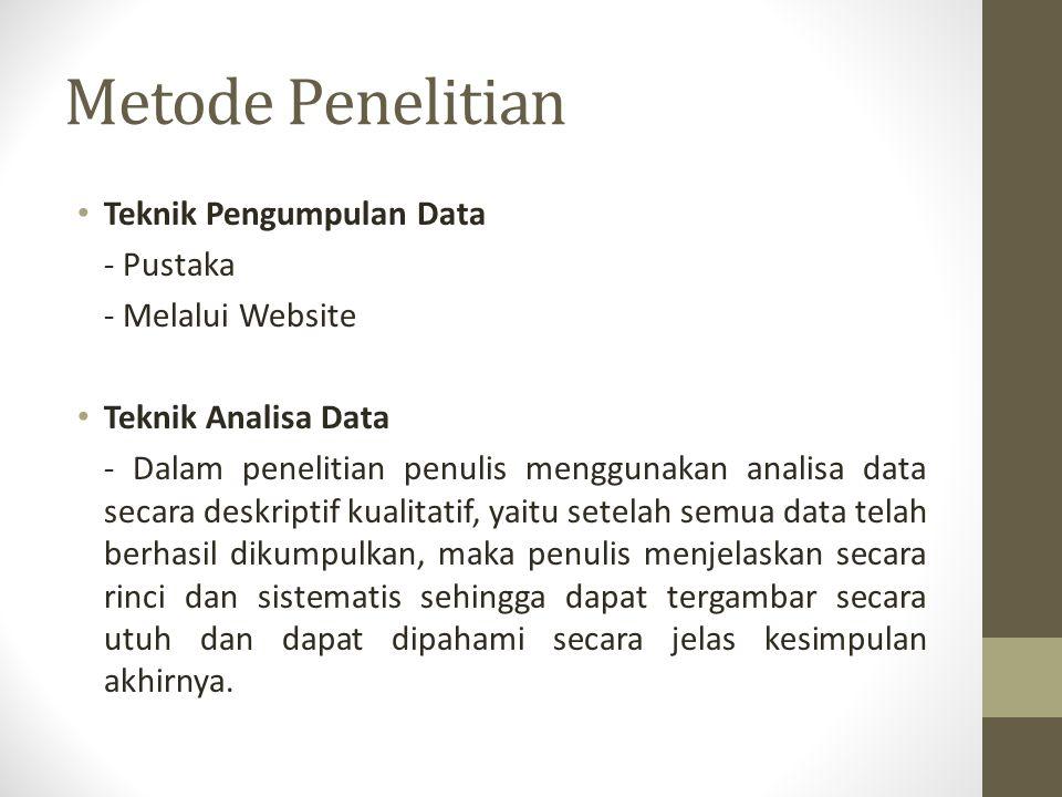 Metode Penelitian Teknik Pengumpulan Data - Pustaka - Melalui Website Teknik Analisa Data - Dalam penelitian penulis menggunakan analisa data secara d
