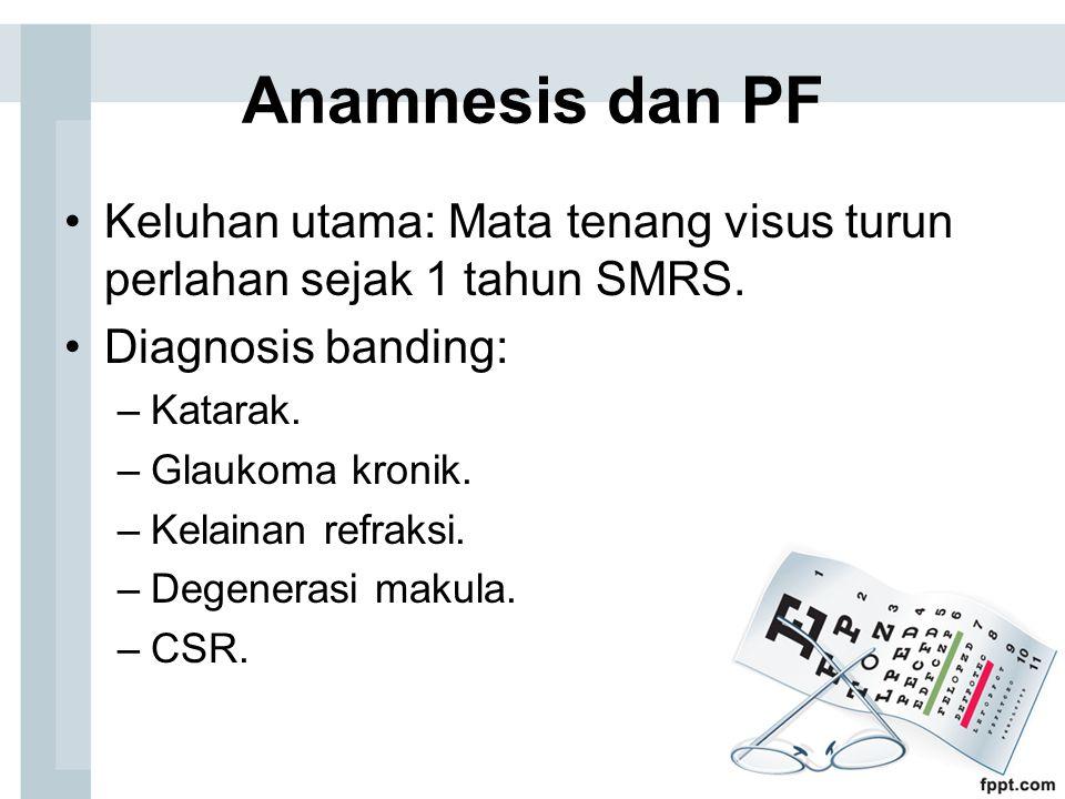 Anamnesis dan PF Keluhan utama: Mata tenang visus turun perlahan sejak 1 tahun SMRS. Diagnosis banding: –Katarak. –Glaukoma kronik. –Kelainan refraksi