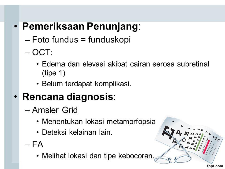 Pemeriksaan Penunjang: –Foto fundus = funduskopi –OCT: Edema dan elevasi akibat cairan serosa subretinal (tipe 1) Belum terdapat komplikasi. Rencana d