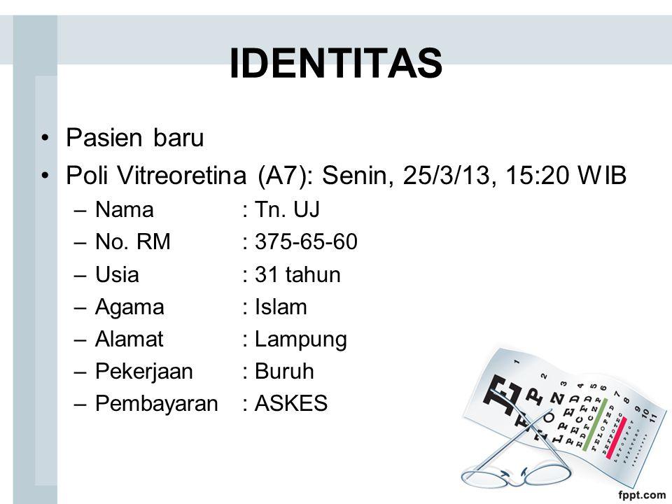 IDENTITAS Pasien baru Poli Vitreoretina (A7): Senin, 25/3/13, 15:20 WIB –Nama: Tn. UJ –No. RM: 375-65-60 –Usia: 31 tahun –Agama: Islam –Alamat: Lampun