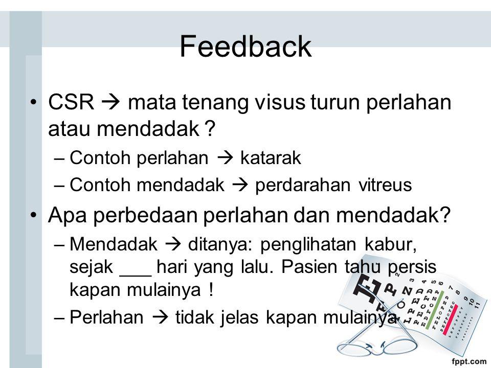 Feedback CSR  mata tenang visus turun perlahan atau mendadak .